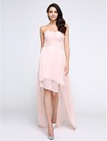 Cocktailparty Kleid A-Linie Herzausschnitt Asymmetrisch Chiffon mit Drapiert / Überkreuzte Rüschen