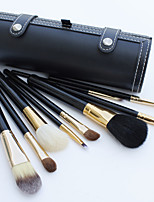 9Pcs Black Wool Hair Makeup Brushes Set