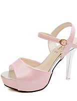 Women's Sandals Summer Open Toe PU Casual Stiletto Heel Others Pink / White
