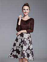 Women's Plus Size / Casual/Daily Street chic Sheath Dress,Print Round Neck Knee-length ¾ Sleeve  Polyester Spring / Fall