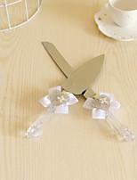 Conjuntos de Servicio de Mesa(Plata / Blanco,Acero Inoxidable,Diamantes Sintéticos / Cinta / Diseño de corazón / Lazo blanco)
