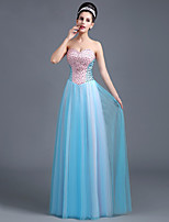 Formal Evening Dress A-line Sweetheart Floor-length Satin / Tulle with Beading / Sequins