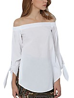 Women Sexy Slash Neck Off Shoulder Strapless Long Sleeve Bowknot Blouse Top Casual Loose Shirt