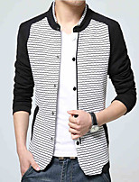 The fall of the new youth mens jacket jacket thin slim collar stripe mosaic size shirt Han Banchao