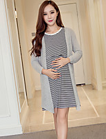 Maternity Casual/Daily Simple T Shirt Dress,Solid / Striped Round Neck Above Knee Long Sleeve