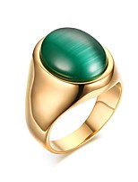 Men's Titanium Steel / Opal Ring Vintage Green Statement Rings Party / Daily / Casual 1pc Statement Rings
