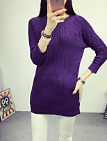 Women's Casual/Daily Simple Long Pullover,Solid Purple Round Neck ¾ Sleeve Fall / Winter Medium