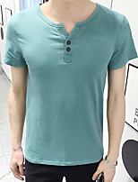 Men's Solid Casual T-ShirtRayon Short Sleeve-Black / Green / White / Gray