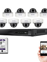 hikvision® ds-7608ni-e2 / 8p kit NVR 8ch poe com 8pcs ds-2cd2135f-se dome ip 3.0MP câmera e 2TB HDD