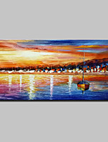 Hand Painted Abstract Landscape Boat Oil Painting On Canvas Wall Art With Stretched Frame Ready To Hang 70x140cm