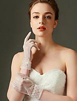 Wrist Length Fingertips Glove Net Bridal Gloves Spring Beading / Pearls