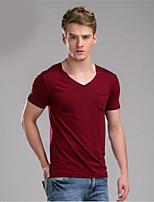 Herr D® Herren V-Ausschnitt Kurze Ärmel T-Shirt Schwarz / Weiß / Burgund-581