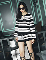 Boutique S Women's Casual/Daily Street chic Spring / Fall Set Pant,Striped Round Neck Long Sleeve Black Cotton Thin