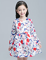 Girl's Cotton Spring/Autumn Long Sleeve Princess Floral Dress