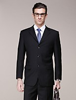 Suits Standard Fit Notch Single Breasted Three-buttons Polyester Solid 2 Pieces Black Straight Flapped