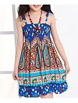 Girl's Beach Print Dress,Polyester Spring Blue