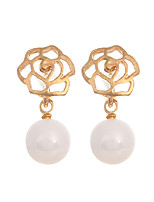 Korea Fashion Charming Bijoux Jewelry Gold PLated Flower Earrings Simulated Plastic Pearl Drop Earrings for Women