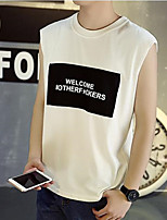 Men's Print Casual T-Shirt,Cotton Sleeveless-Black / White