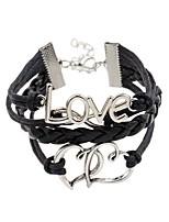 Chain Bracelets 1pc,Personality Alphabet Shape Black Leather Jewelry Gifts