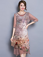 Women's Casual/Daily / Plus Size Chinoiserie A Line Dress,Print Round Neck Midi ½ Length Sleeve Brown Polyester Summer