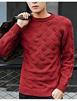 Мужской Однотонный Пуловер На каждый день,Шерсть,Длинный рукав,Синий / Красный / Серый