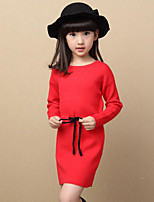 Girl's Casual/Daily Solid Dress / Sweater & Cardigan,Others Spring / Fall Black / Red