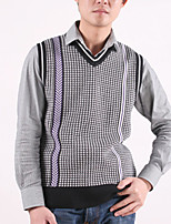 Men's Plaid Casual Vest,Cotton Sleeveless Black / Blue / Purple / Gray