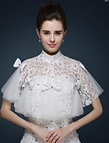 Women's Wrap Capelets Sleeveless Lace / Tulle Ivory Wedding / Party/Evening High Neck Bow / Rhinestone Pullover