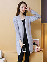 Women's Casual/Daily Simple Long Cardigan,Solid V Neck Long Sleeve Cotton Spring / Fall Medium