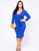 Women's Beach / Plus Size Simple Bodycon Dress,Solid U Neck Knee-length Long Sleeve Blue / Red / White / Yellow Others Summer