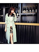 Women's Going out Simple Trench Coat,Solid Peter Pan Collar Long Sleeve Fall Blue / Beige / Black Polyester Thin