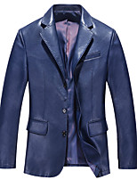 Men's Long Sleeve Casual Jacket,Polyester Solid Blue