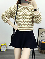 Women's Going out / Casual/Daily Street chic Regular Pullover,Polka Dot Blue / Pink / Brown Boat Neck Long Sleeve Cotton