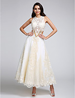 Lanting Bride A-line Wedding Dress Ankle-length Jewel Lace / Satin / Tulle with Appliques / Lace