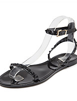 Women's Sandals Summer Sandals PVC Outdoor / Casual Flat Heel Rivet Black / White Others