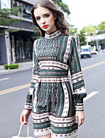 Boutique S Women's Holiday Chinoiserie Loose Dress,Print Stand Above Knee Long Sleeve Green Cotton / Linen Spring