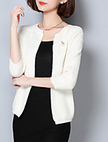Women's Going out Street chic Regular Cardigan,Solid Pink / White / Gray U Neck Long Sleeve Acrylic Spring