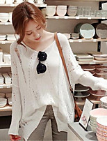 Women's Going out / Casual/Daily Cute / Street chic Long Cardigan,Solid White V Neck Long Sleeve Cotton