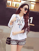 Boutique S Going out / Casual/Daily /Cute Summer T-shirt Pant,Geometric / Color Block Round Neck ¾ Sleeve White