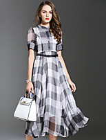 ES·DANNUO Women's Sophisticated Check Swing Dress,Stand Midi Silk / Polyester