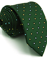 Men's Necktie Green Dots 100% Silk Tie Jacquard Woven Business For Men
