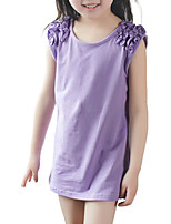 Girl's Casual/Daily Solid Dress,Polyester Summer Green / Pink / Purple / Red