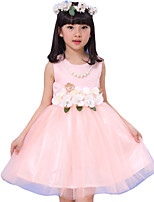 Girl's Casual/Daily Solid Dress,Others Summer Pink / Beige