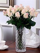 10 Branch Europe Style Single PU Lifelike Rose Home Furnishing True Feel Artificial Flowers