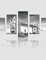 JAMMORY Canvas Set Landscape Modern,Five Panels Gallery Wrapped, Ready To Hang Vertical Print No Frame Bridge Landscape