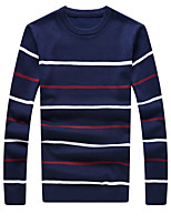 Men's Fashion Slim Striped Knit Pullovers,Cotton / Polyester Long Sleeve Blue / Red / Gray