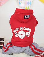 Hunde Kapuzenshirts Rot / Blau / Purpur Winter Buchstabe & Nummer warm halten