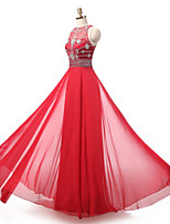 Formal Evening Dress A-line Jewel Floor-length Chiffon with Beading