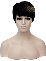 European Trendy Short Sythetic Black Light Brown Mixed Party Wig For Women