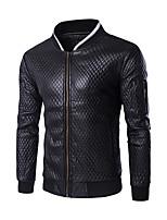 Men's Slim Plaid Sleeve Pocket Design Motorcycle Leather Jacket,PU / Polyester Color Block Black / White